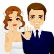 Wedding Ring Couple — Stock Vector