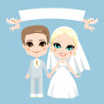 White Couple Wedding — Stock Vector