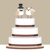 Birds Love Wedding Cake — Stock Vector