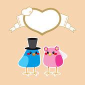 鳥愛の結婚式 — ストックベクタ