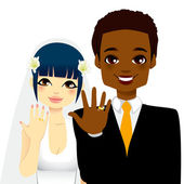 Newlywed Couple Rings — Stock Vector