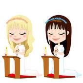 First Communion Prayer Girls — Stock Vector