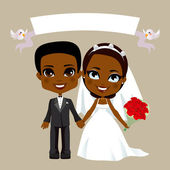 Black Couple Wedding — Stock Vector
