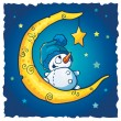 Snowman On The Moon - Stock Photo