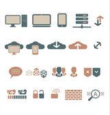 It-bisiness a digitální komunikace ikony — Stock vektor