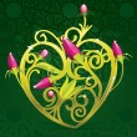 Floral Golden Heart — Stock Vector #8852956