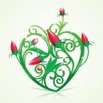 Floral Green Heart — Stock Vector #9416151