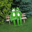 Enamoured frogs on a bench in park — Stock Photo
