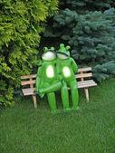 Kikkers verliefd op een bankje in het park — Stockfoto