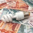 Stock Photo: Small bulb saves big money
