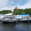 Stock Photo: Motor ships on underwater wings at mooring of Valaam monastery
