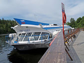 The motor ship on underwater wings Patriarch Alex II at the mooring of the Valaam monastery — Stock Photo