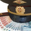 Royalty-Free Stock Photo: Military peak-cap, shoulder strap and Russian money