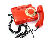 The old disk telephone set with the removed tube — Stock Photo