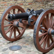 Artillery piece of the XIX century on a wooden gun carriage — Stock Photo