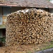 Stock Photo: Round woodpile of birch firewood