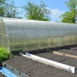 Stock Photo: Greenhouse from cellular polycarbonate on country section