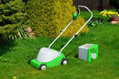 Lawn-mower with the container for a grass — Stock fotografie