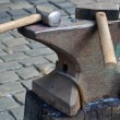 Stock Photo: Two hammers lie on anvil