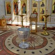Interior of orthodox church with a font for a baptism — Stok fotoğraf