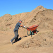 Elderly worker is lucky wheelbarrow with soil on road cons — Stock Photo #32486407