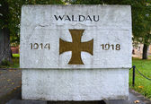 """Fragment of a monument to """"WALDAU 1914-1918"""" which have perished — Stock Photo"""