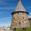 Pilgrims go by tower of Solovki monastery — Stockfoto #33606007