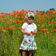 The little girl keeps red poppy in a poppy field — Stock Photo