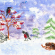 Winter. Children's drawing (water color, wax pieces of chalk) — Stock Photo