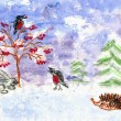 Stock Photo: Winter. Children's drawing (water color, wax pieces of chalk)