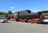 Kaliningrad. The old German engine at the platform of the Northe — Foto Stock