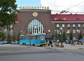 Kaliningrad. Tram stop about the railway Southern station — Zdjęcie stockowe