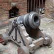 Foto Stock: Mortar of XVIII century on wooden gun carriage