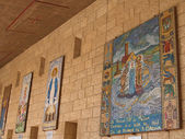 Israel, Nazareth. Lady day basilica, mosaic icons in courtyard g — Stock Photo