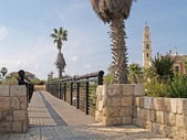 Bridge of desires and view of Catholic church. Yaffo, Israel — Stock Photo