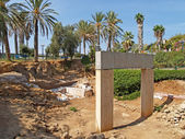 Excavation, gate of times of the Pharaoh Ramesses II. Yaffo, Isr — Stock Photo