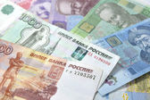 Russian and Ukrainian paper money — Stock Photo