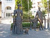 """Jalta. sousoší """"čechova a paní se psem"""" — Stock fotografie"""