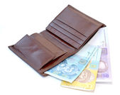 Purse with the Ukrainian money on a white background — Photo