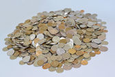 The Russian metallic currency on a light background. Lot of mone — Stock Photo
