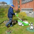 The pensioner cuts a grass a lawn-mower about the house — Stock Photo #45179447