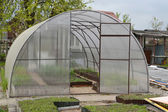 Greenhouse airing from cellular polycarbonate — Stock Photo