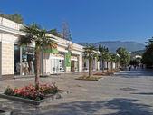 Crimea. Palm trees on the embankment of Yalta — Stock Photo
