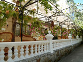 Crimea. Balustrade of summer restaurant in Yalta — Stock Photo
