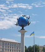 Kiev. Sign of zero kilometer - the Winged Globe — Stock Photo