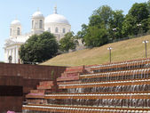 View of the step fountain and cathedral of Saint Alexander. Kiev — Stock Photo