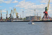 View of the Kaliningrad trade seaport — Stockfoto