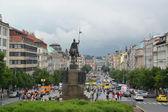 Czech Republic, Prague. View of Vatslavskaya Square — Stock Photo