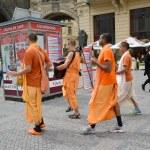 Krishnaites go down the street Prague, the Czech Republic — Stock Photo #50201339