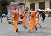 Krishnaites go down the street Prague, the Czech Republic — Stock Photo